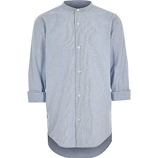 Boys blue stripe rolled sleeve grandad shirt