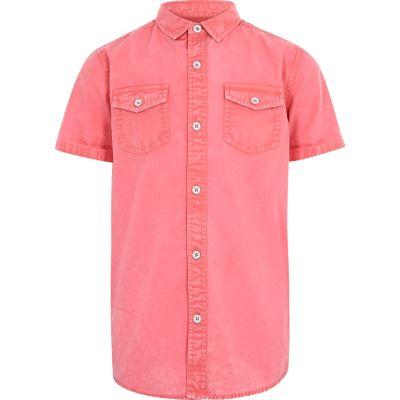 Rood gewassen overhemd met korte mouwen voor jongens