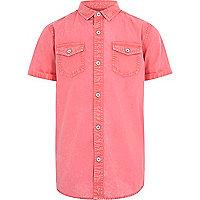 Boys red washed short sleeve shirt