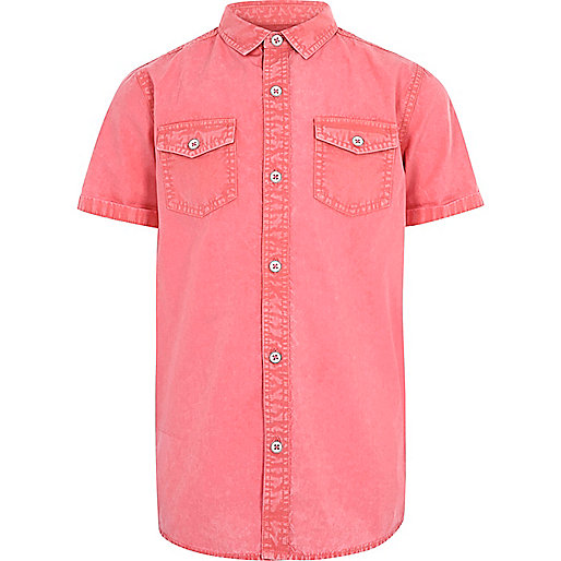 Boys red washed short sleeve shirt