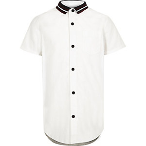 Boys white knit collar jersey back shirt