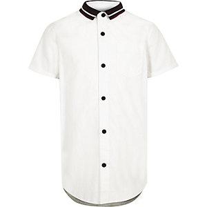 Boys white knit collar jersey back shirt