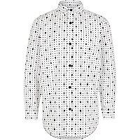 Boys white skull print smart shirt