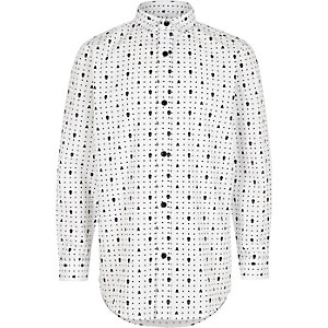 Wit net overhemd met doodshoofdprint voor jongens