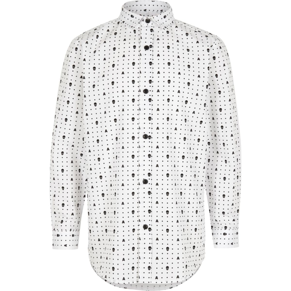 Boys white skull print smart shirt