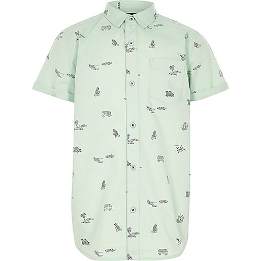 Boys light green print short sleeve shirt