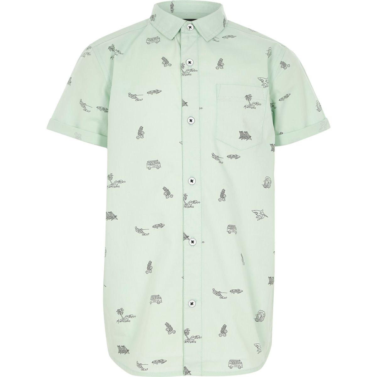 Boys light green print short sleeve shirt