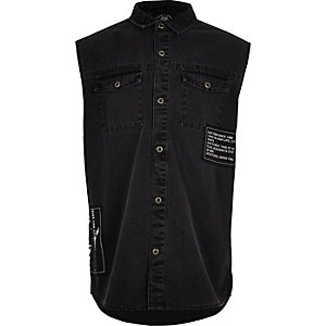 Boys black badged sleeveless denim shirt