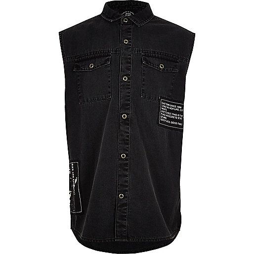 Boys black badged sleeveless denim shirt