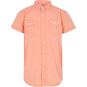 Boys orange washed short sleeve shirt