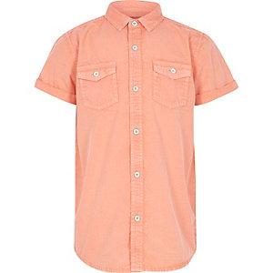 Oranje washed overhemd met korte mouwen voor jongens