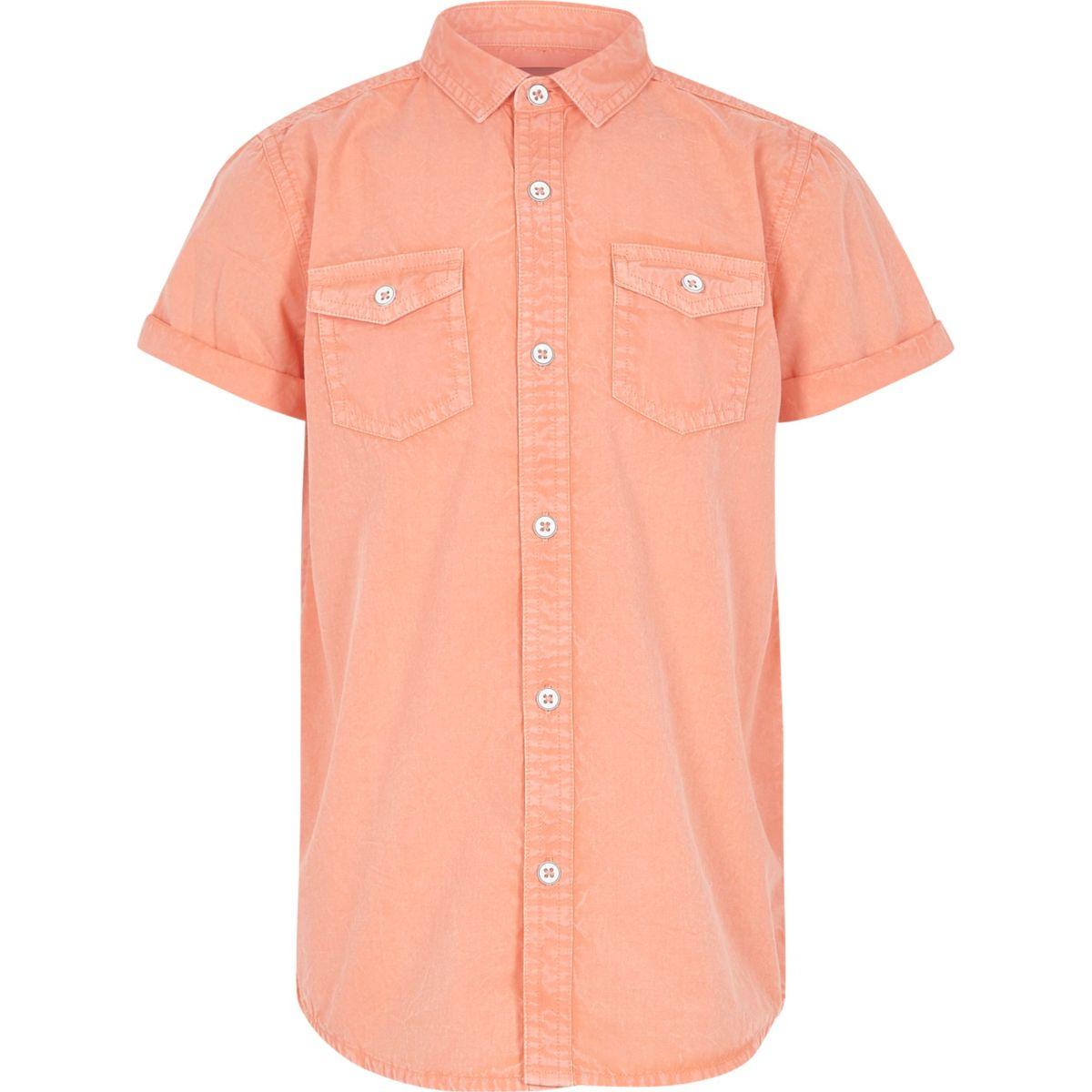 Boys orange washed short sleeve shirt