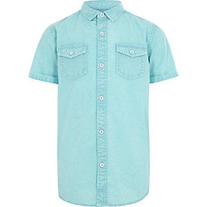 Boys blue washed short sleeve shirt