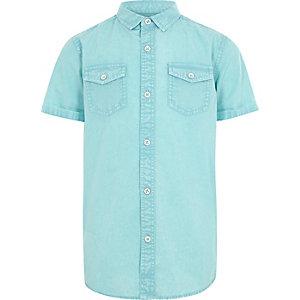 Blauwe washed overhemd met korte mouwen voor jongens
