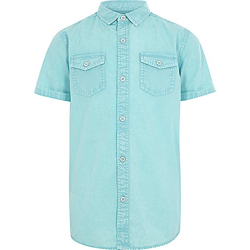 Boys blue washed short sleeve shirt