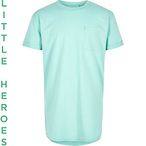 Boys green curved hem short sleeve T-shirt