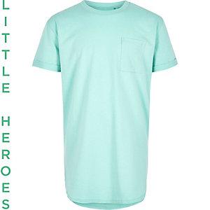 Groen T-shirt met korte mouwen en ronde zoom voor jongens
