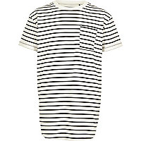 Boys white stripe curved hem T-shirt