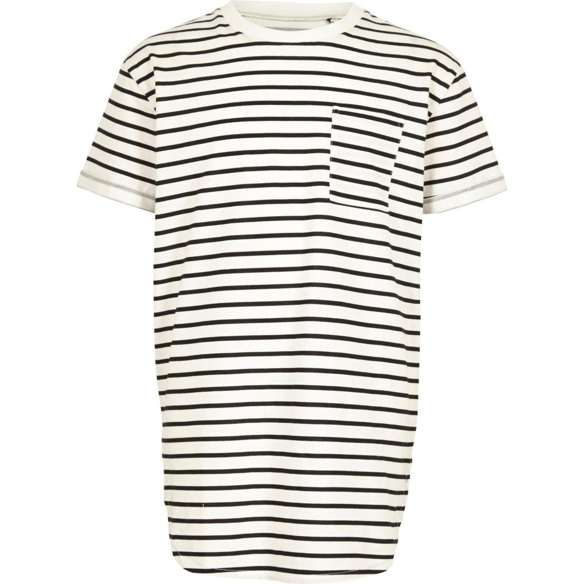 Boys white stripe curved hem T-shirt
