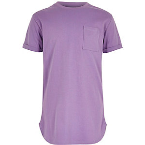 Boys purple curved hem T-shirt