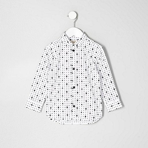 Mini boys white skull print shirt