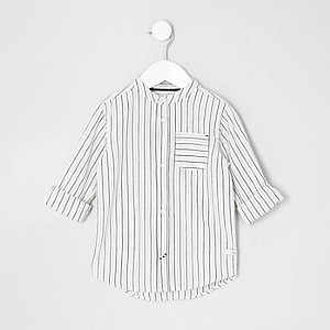 Mini boys cream stripe grandad shirt