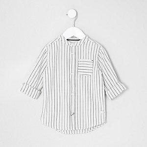 Mini - Crème gestreept overhemd zonder kraag voor jongens
