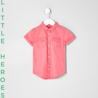 Mini Roze washed overhemd met korte mouwen voor jongens