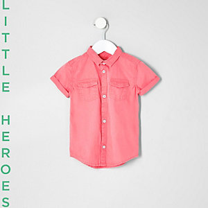 Mini boys pink washed short sleeve shirt