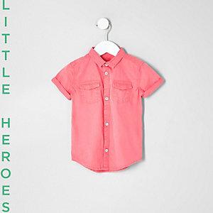 Mini - Roze washed overhemd met korte mouwen voor jongens