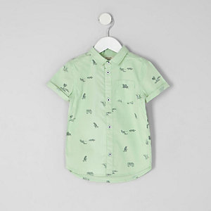 Mini boys green beach short sleeve shirt