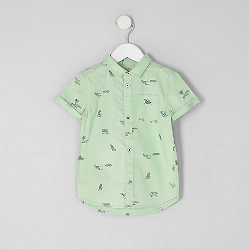 Mini boys green beach short sleeve shirt