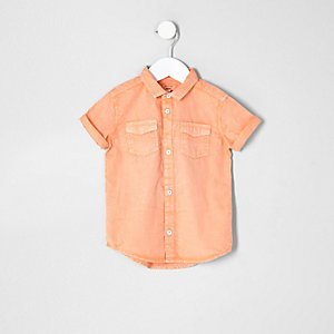 Mini boys washed orange short sleeve shirt