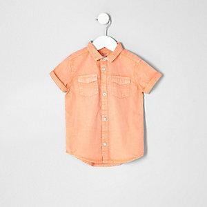 Mini - Washed oranje overhemd met korte mouwen voor jongens
