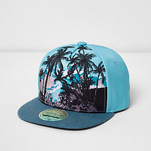 Boys blue palm print flat peak cap