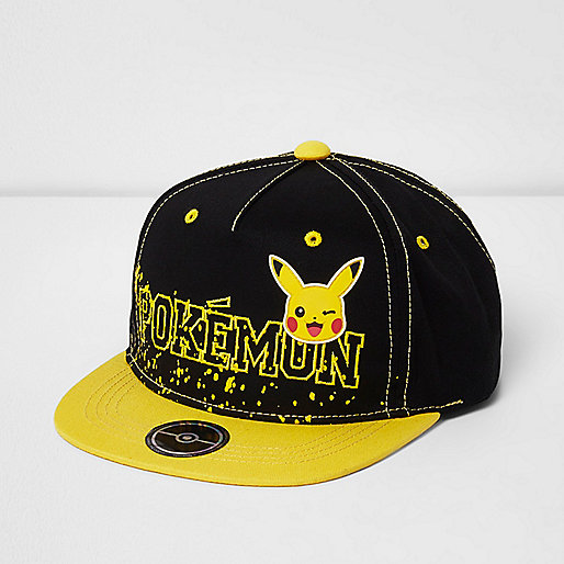 Boys black Pokemon flat peak cap