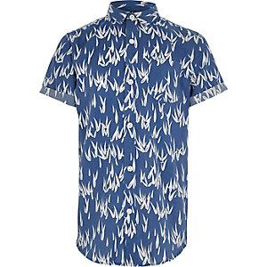 Blauw overhemd met korte mouwen en bamboeprint voor jongens