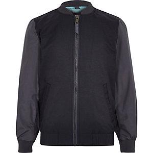 Boys blue block sleeve bomber jacket