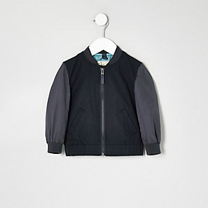 Mini boys blue block sleeve bomber jacket