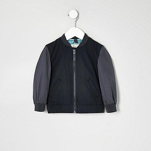 Mini boys blue block sleeve bomber jacket