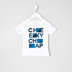 Mini boys white cheeky chap T-shirt