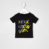 T-shirt avec inscription « never grow up » noir mini garçon