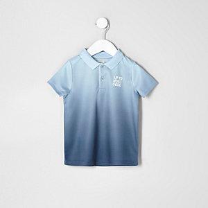 Mini boys blue print fade polo shirt