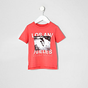 Mini boys pink LA photo print T-shirt