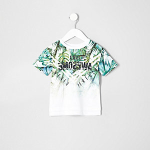 Mini boys green fade palm print T-shirt