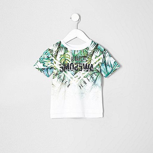 Mini boys green fade palm print T-shirt