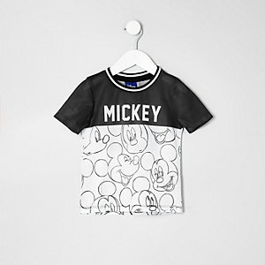 Mini boys white Mickey Mouse contrast T-shirt