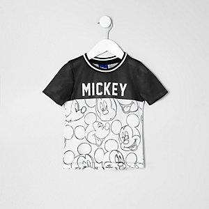 Mini - Wit Mickey Mouse T-shirt met contrast voor jongens