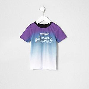 Mini - Paars T-shirt met print, mesh en kleurverloop voor jongens