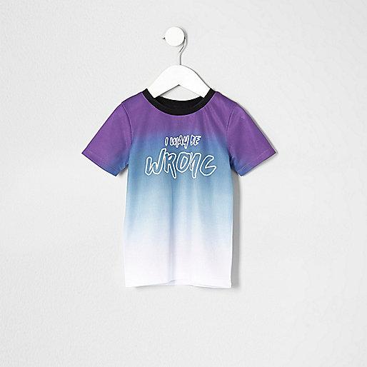 Mini boys purple mesh fade print T-shirt